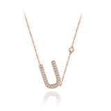 U Initial Bezel Chain Necklace