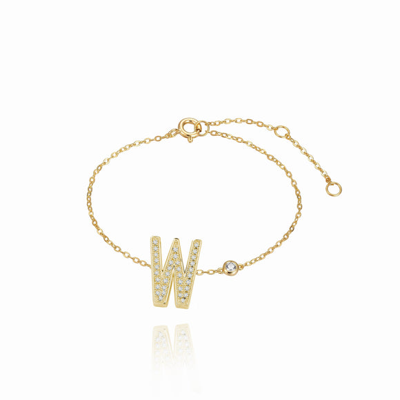 W Initial Bezel Chain Anklet