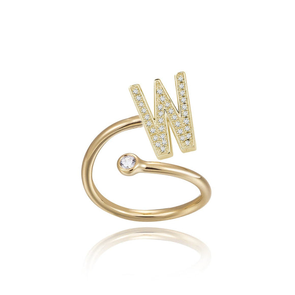 W Initial Bezel Wire Ring