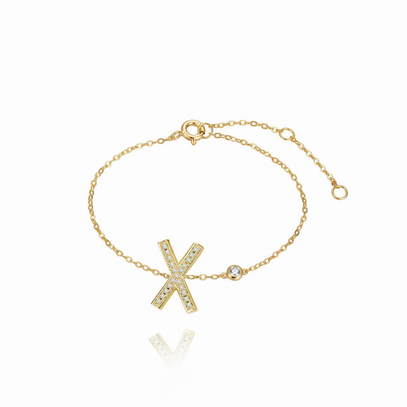 X Initial Bezel Chain Anklet