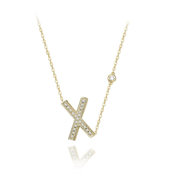X Initial Bezel Chain Necklace