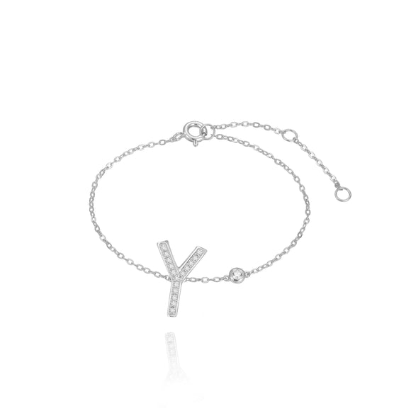 Y Initial Bezel Chain Anklet