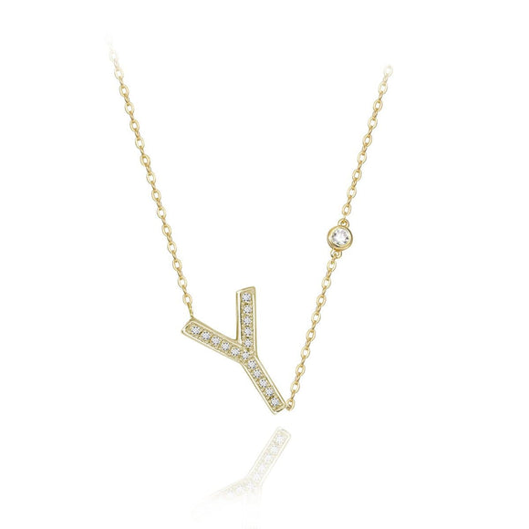 Y Initial Bezel Chain Necklace