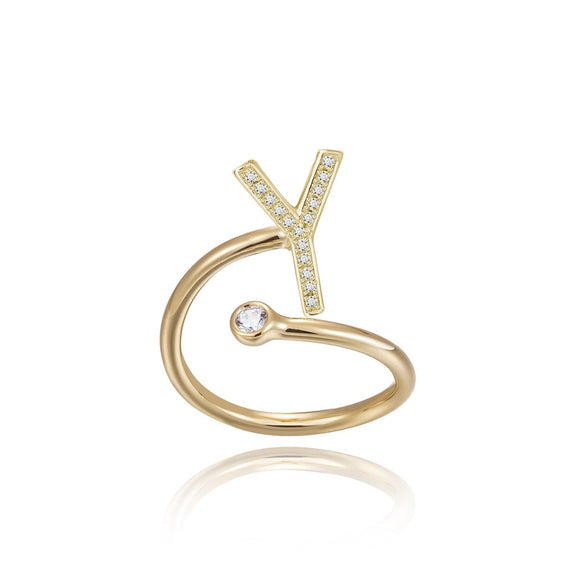 Y Initial Bezel Wire Ring