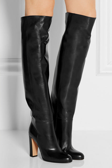 Trendy Black Leather Knee High Thick