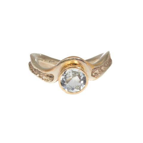 18k Yellow Gold Sapphire Diamond Engagement Ring