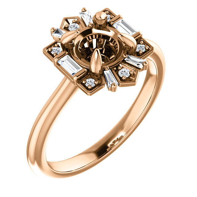 14k Gold Diamond Semi-Set Engagement Ring