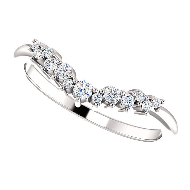 14k White Gold Diamond Contour Band - Lireille