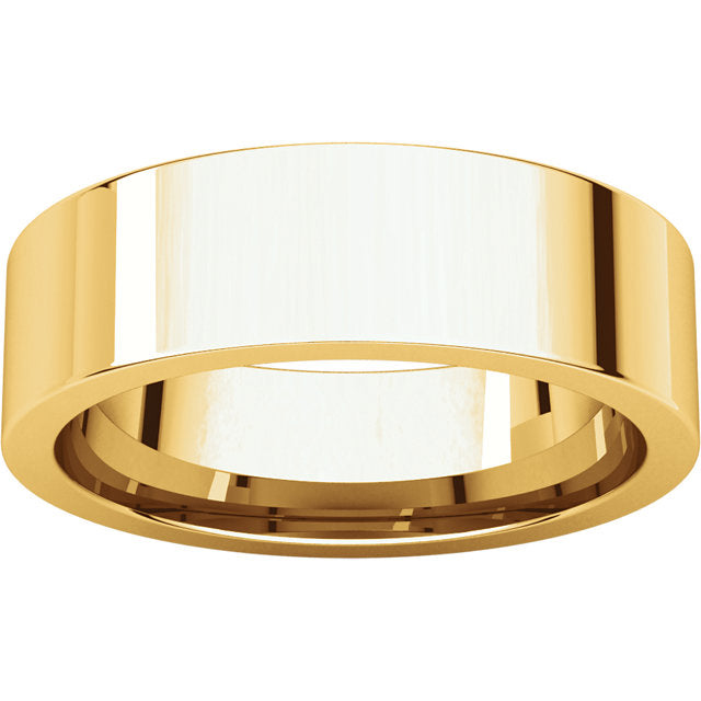 10K Gold 6mm Flat Shape Comfort Fit Band