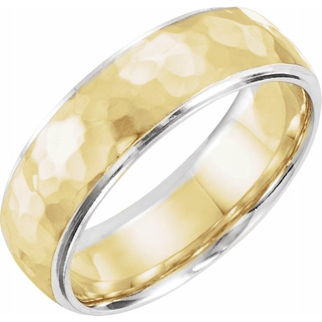 14K Gold 6 mm Comfort fit Two Tone Hammered Texture Design Wedding Band