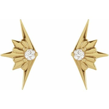 14K Yellow .03 CTW Diamond Starburst Earrings