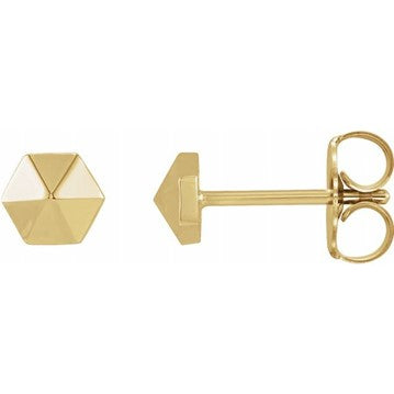 14K Yellow Hexagon Earrings