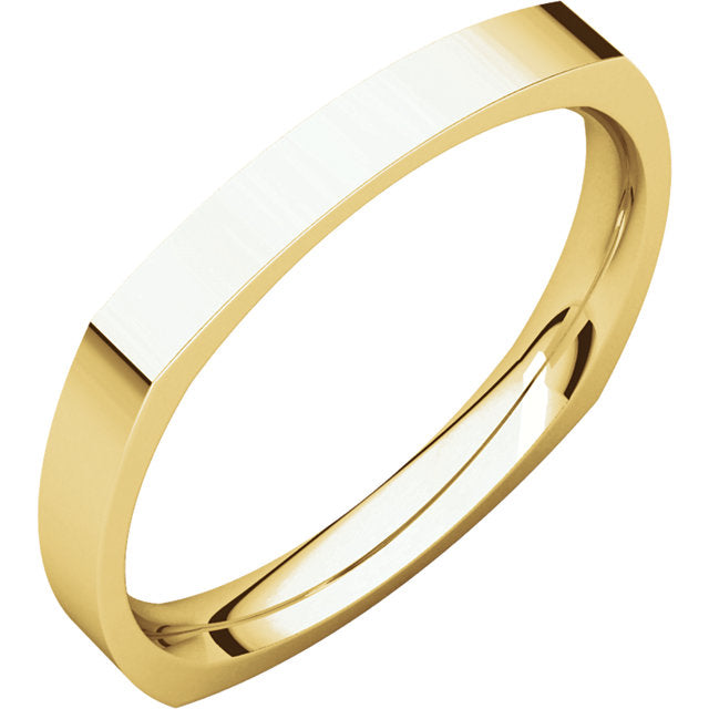 14K Gold 2.5 mm Square Comfort-Fit Wedding Band