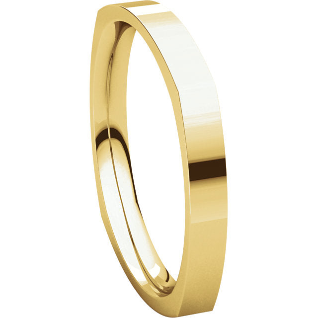 Mens 14K Yellow Gold 2.5mm Square Comfort Fit Wedding Band Ring