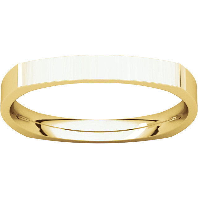 14K Gold 2.5 mm Square Comfort-Fit Band