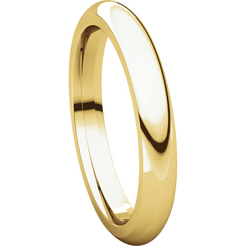 10K Gold 3mm half round Shape Comfort Fit Band