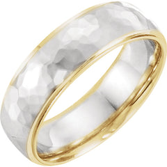 14K Yellow & White 6 mm Comfort fit Two Tone Design Wedding Band
