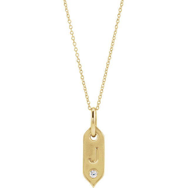 14K Gold Initial Necklace set with .05 CT Diamond