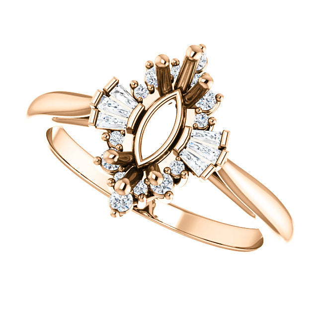 14k Gold Marquise Diamond Semi-Set Engagement Ring