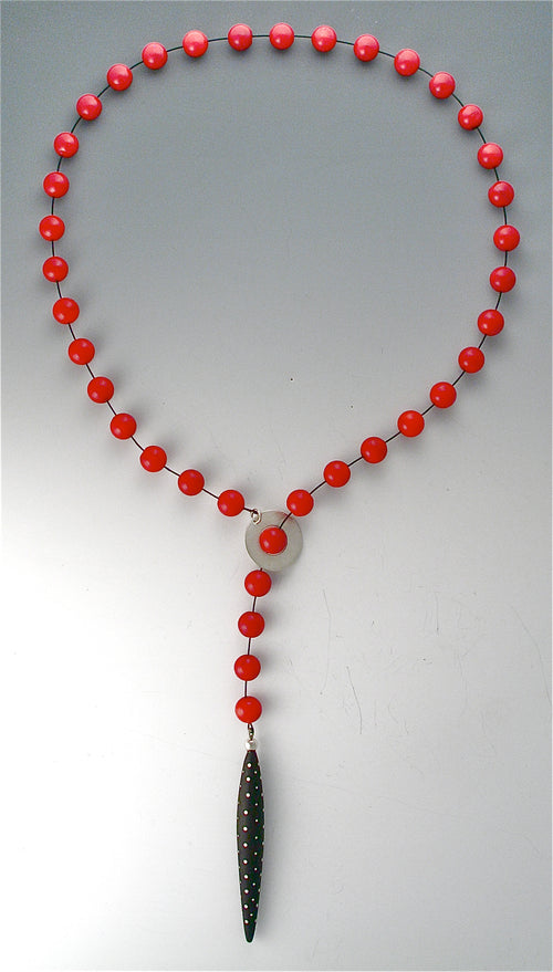Red Coral Lariat Necklace with Ebony wood and silver inlay