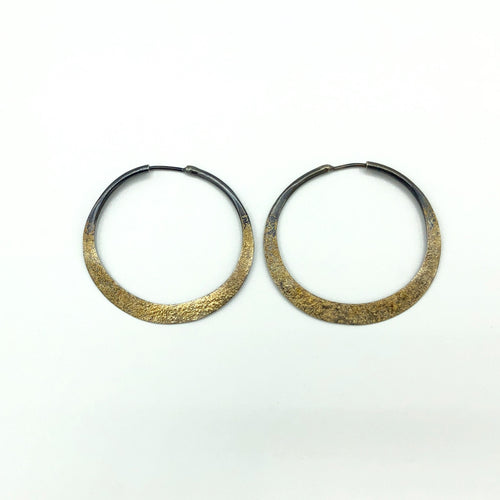 18K Gold Dust Argentium Sterling Silver Hoops