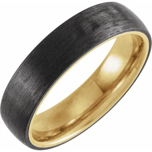 18K Yellow Gold PVD Titanium & Carbon Fiber 6 mm Half Round Band