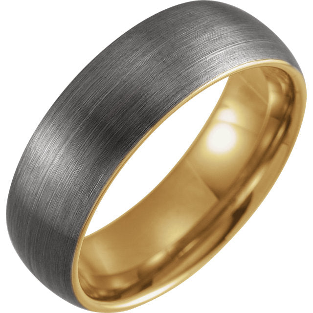 18K Yellow Gold PVD Tungsten 8 mm Half Round Band with Satin (Matted) Finish