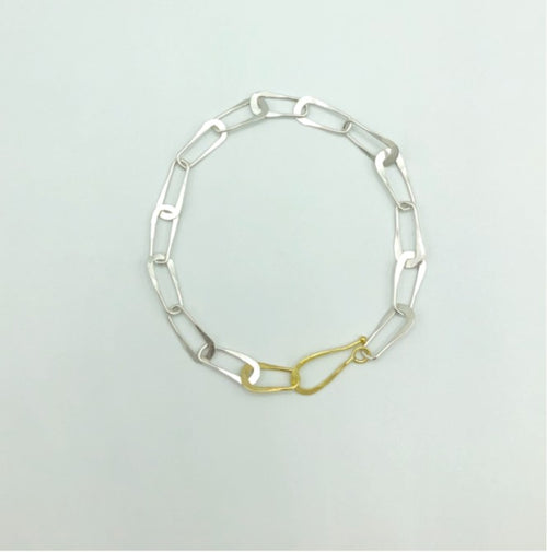 18k Yellow Gold and Sterling Silver Oval Link Bracelet