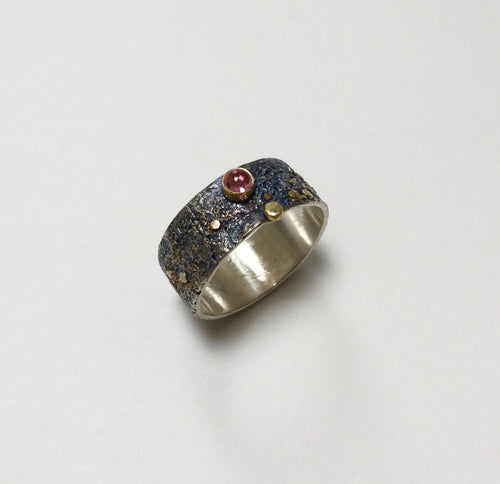 Pink Tourmaline in 18k gold bezel, reticulated silver, fused gold powder and gold dot accents