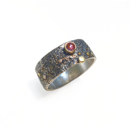 Pink Tourmaline in 18k Gold Bezel Set on Reticulated Silver with Gold Accents