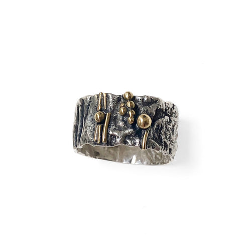 Reticulated Silver Ring with 18k Gold Accent