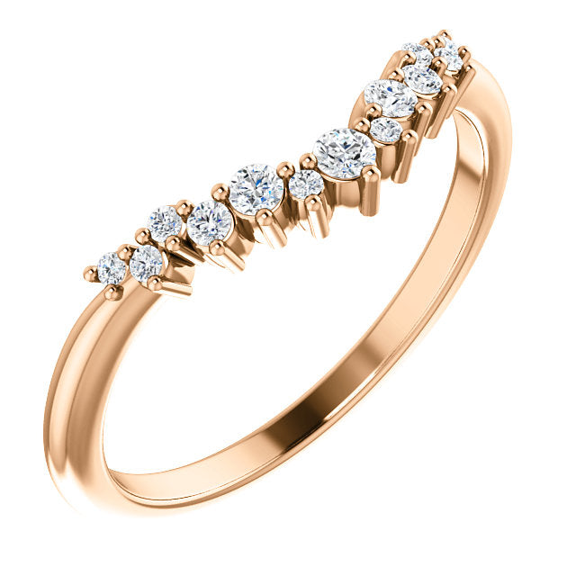 14k Rose Gold Diamond Contour Band - Lireille