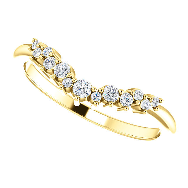 14k Yellow Gold Diamond Contour Band - Lireille