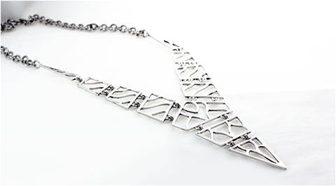 Linking Dichotomy: Arang Wood and Silver Link Necklace