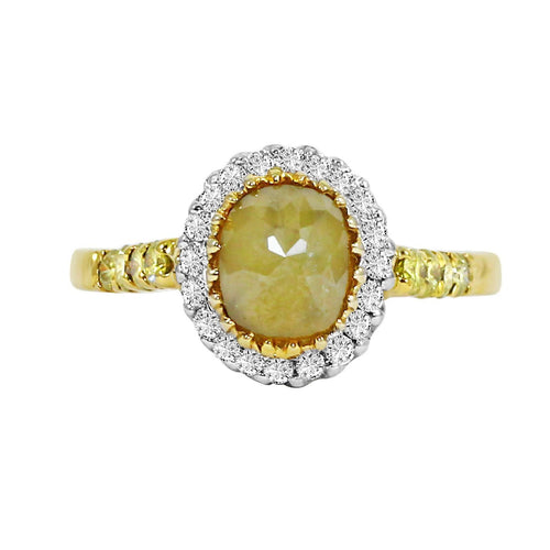 18k Gold Icy Yellow and White Diamond Ring