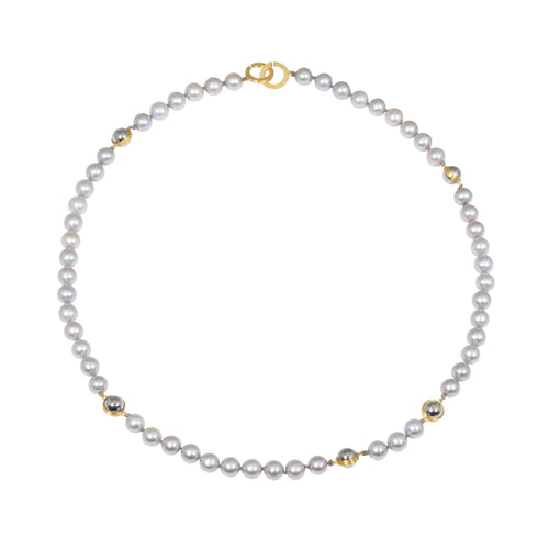 Pearl & Ball Bearing Necklace in 18k & 22k Yellow Gold
