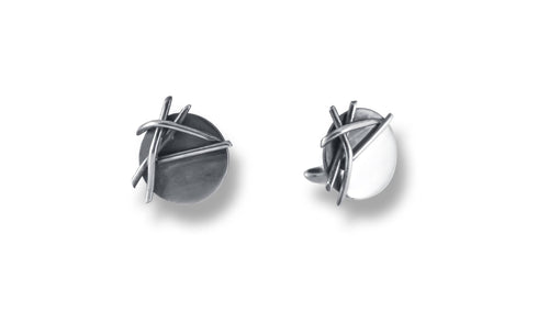 Jagged Lines Cuff Links in Silver