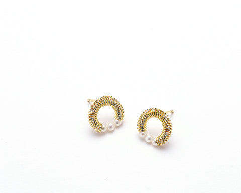Pearl Post Earrings with Sand Texture in Silver