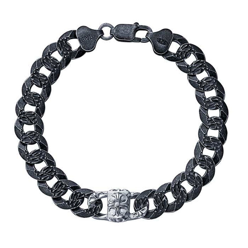 Oxidized Sterling Silver Textured 10.8mm Curb Cain Bracelet with Medallion