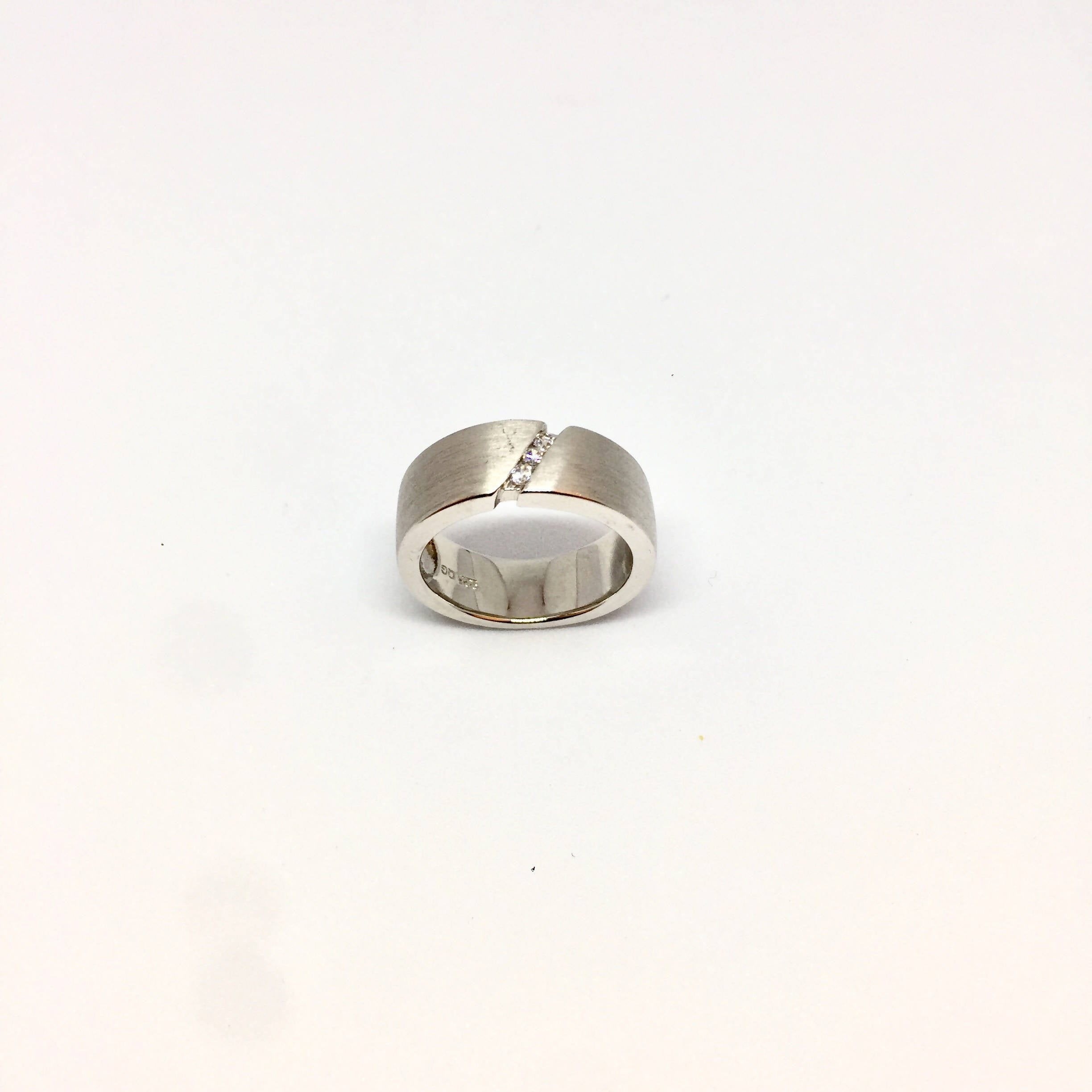 Sterling Silver Brushed CZ Ring