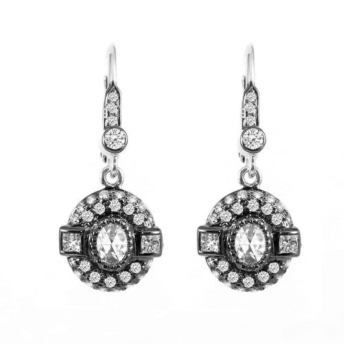 18k Gold Vintage Style Oval Rose Cut Diamond Earrings