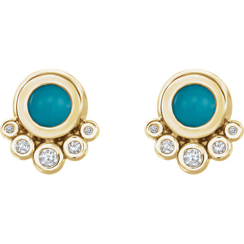 14k Gold Turquoise and Diamond Earrings