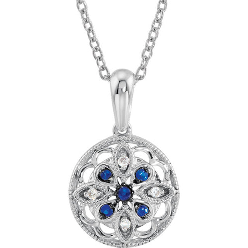 "Vintage Inspired Sterling Silver Blue Sapphire & .03 CTW Diamond 18"" Necklace"