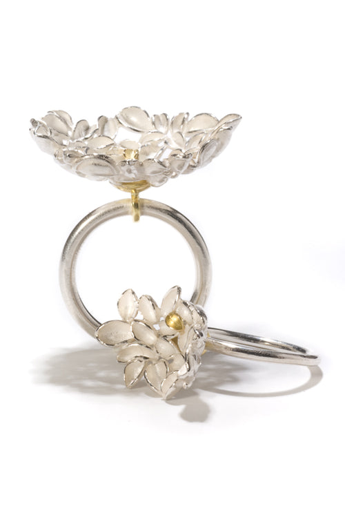 Sterling Silver Gold Floral Ring