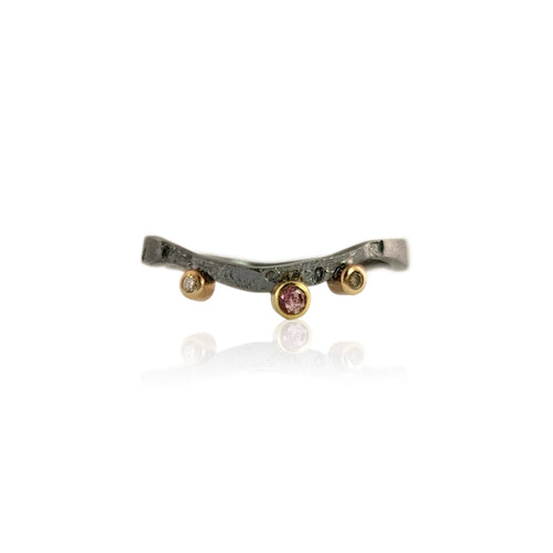 Alaria Nesting Band with Pink Sapphire and Champagne Diamonds