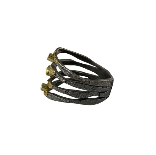 Alaria Ring with diamonds and oxidized finish