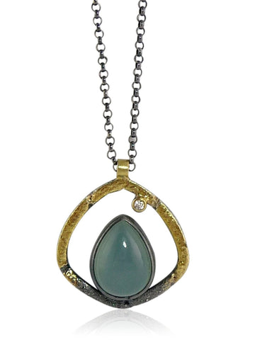 Blue Moonstone Terra Shield Pendant