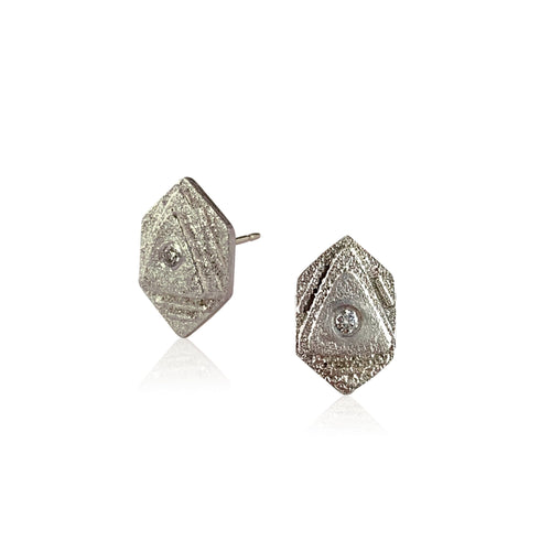 Atlantis Studs - Silver, bright or oxidized silver