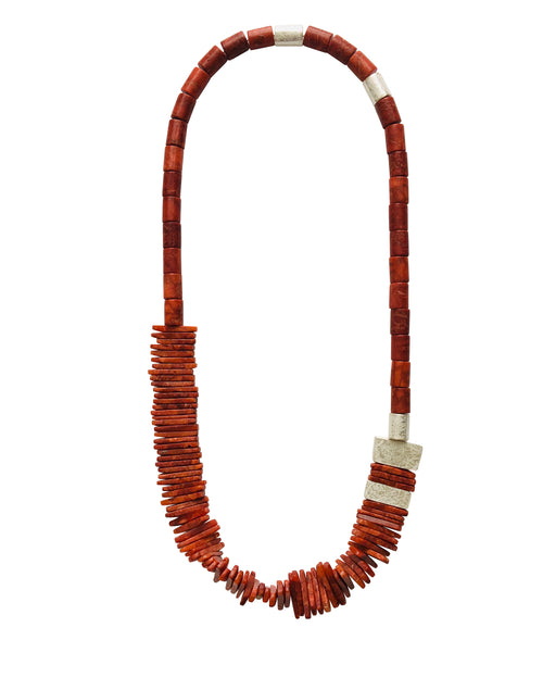 "Sponge Coral Necklace with Five hollow Formed Silver Beads, 32"" long"
