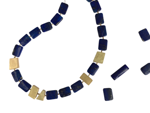 Lapis Lazuli and 14kt Gold Hollow-Formed Spacers Necklace